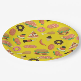 Snack Time Yellow Picnic Paper Plates 9 Inch Paper Plate