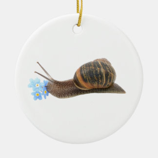 Snail and flowers round ceramic decoration