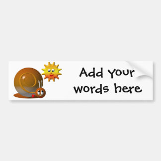 Snail and smiling sun bumper sticker