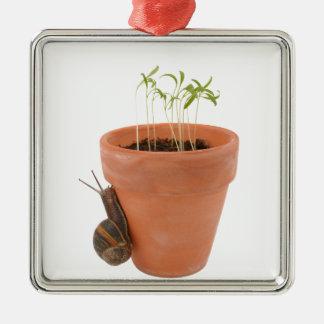 Snail climbing a flowerpot christmas ornament