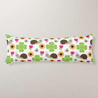 Snail & Clover Seamless Pattern Body Cushion