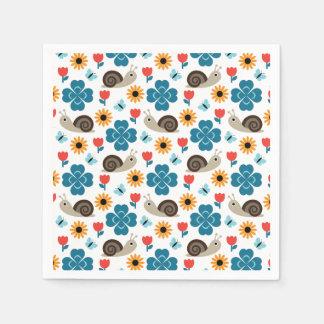 Snail & Clover Seamless Pattern Disposable Serviette