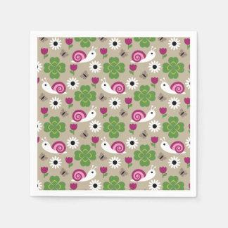 Snail & Clover Seamless Pattern Paper Napkin