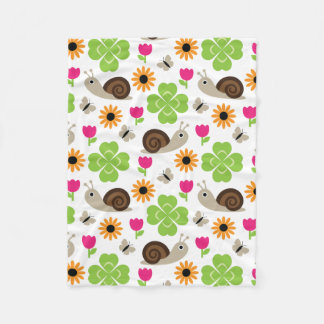 Snail & Clover seamless pattern (ver.1) Fleece Blanket