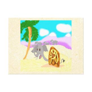 Snail Elephant Doris Finds A Peanut Stretched Canvas Prints