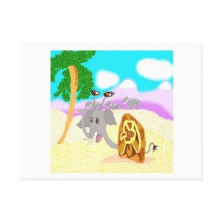 Snail Elephant Doris Finds A Peanut Stretched Canvas Print