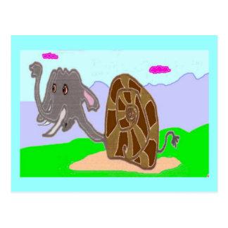 Snail Elephant Doris Postcard