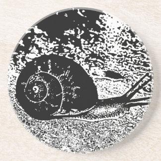 Snail in Black and White Sandstone Coaster