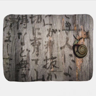 Snail Mail Escargot on Asian Calligraphy Baby Blanket