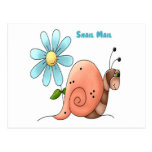 snail mail with blue flower post card