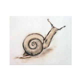 Snail original pastel zen drawing canvas print