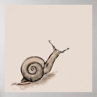 Snail original pastel zen drawing poster