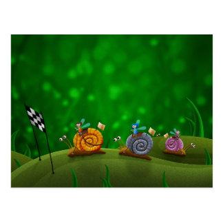 Snail Racing Post Cards