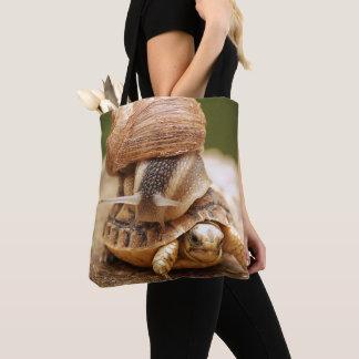 Snail Riding Baby Tortoise Tote Bag