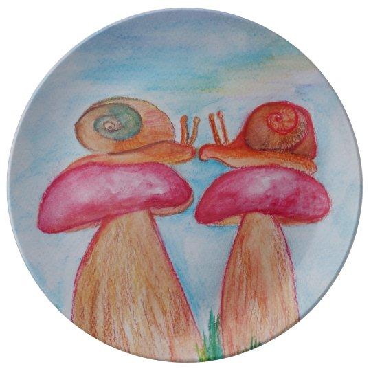 Snail Romance 27.3 cm Decorative Porcelain Plate