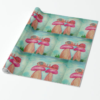 Snail Romance Glossy Wrapping Paper