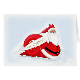Snail Santa  Claus against a Snowy background Card