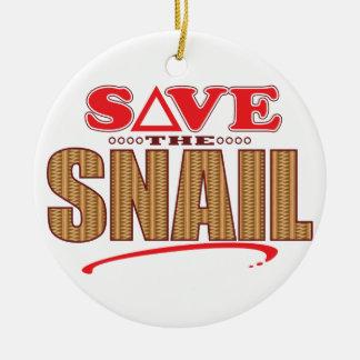 Snail Save Round Ceramic Decoration