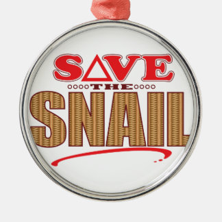 Snail Save Silver-Colored Round Decoration
