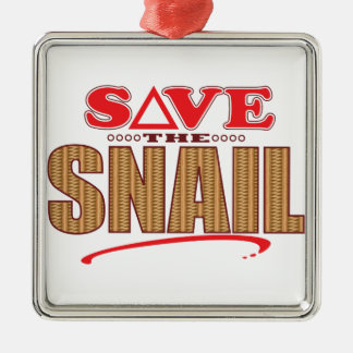 Snail Save Silver-Colored Square Decoration