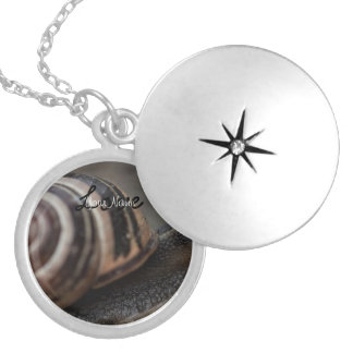 Snail Up Close Round Locket Necklace