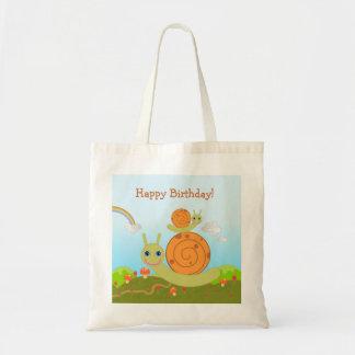 Snail wishing Happy Birthday Tote Bag
