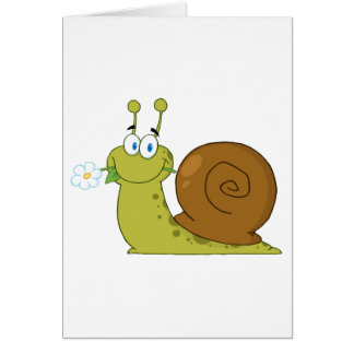 Snail With A Flower In Its Mouth Card