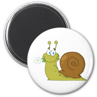 Snail With A Flower In Its Mouth Magnet