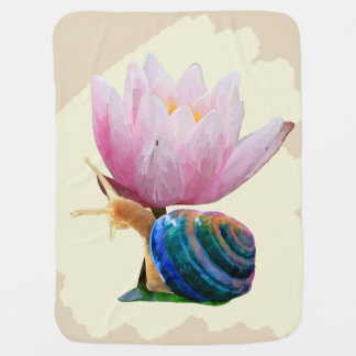 Snail with Water Lily Flower Baby Blanket