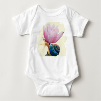 Snail with Water Lily Flower (Customize color!) Baby Bodysuit