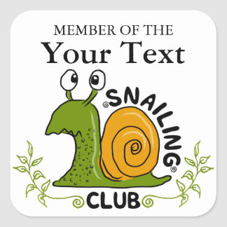 Snailing Club Member Square Sticker