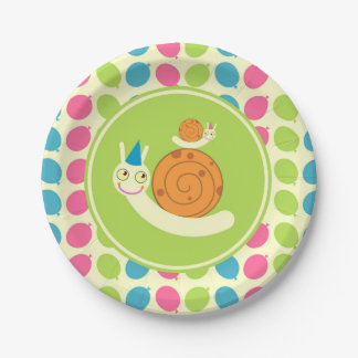 Snails and Balloons children Birthday Party Paper Plate