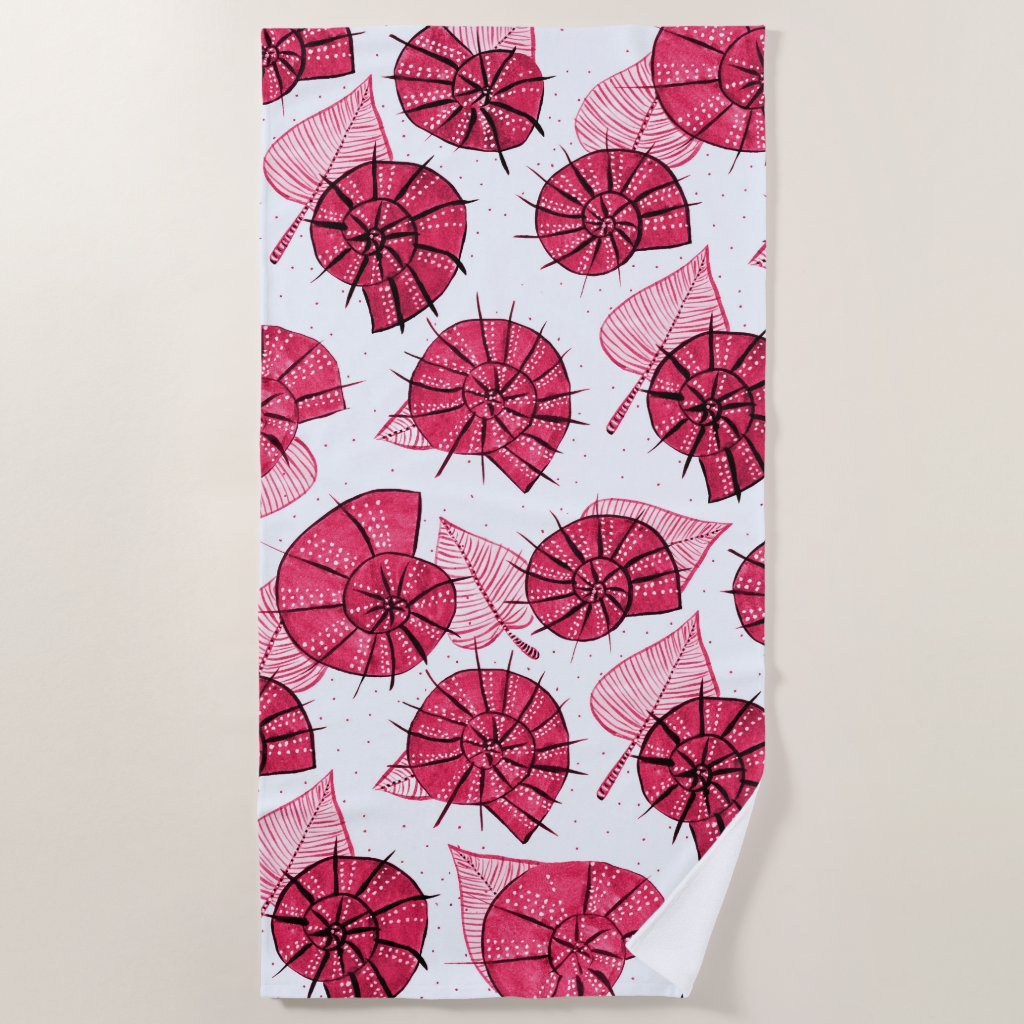 Snails And Leaves Nature Lover Pattern In Pink Beach Towel