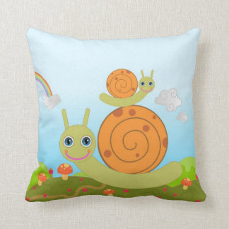 Snails and mushrooms cushion