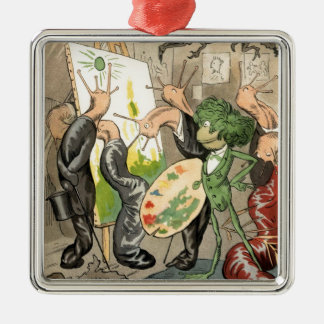 Snails and Toad Art Gallery Silver-Colored Square Decoration