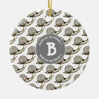 Snails are my Friends Monogram Christmas Ornament