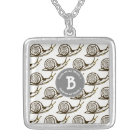 Snails are my Friends Monogram Silver Plated Necklace