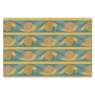 Snails Pattern Print Snail Blue Yellow Teal Gold Tissue Paper