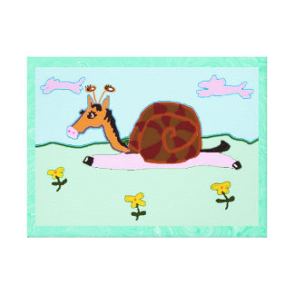 Snaily Horsey Penelope Stretched Canvas Print