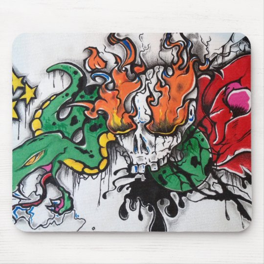 Snake and bones mouse pad