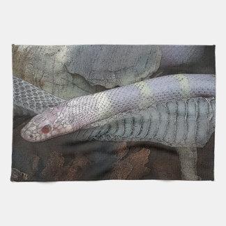 Snake and skin tea towel