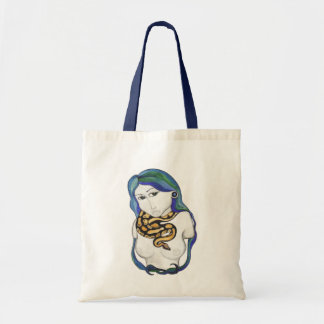 snake and statue tote bag