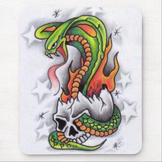 Snake-around-skull-tattoo-design Mouse Mat