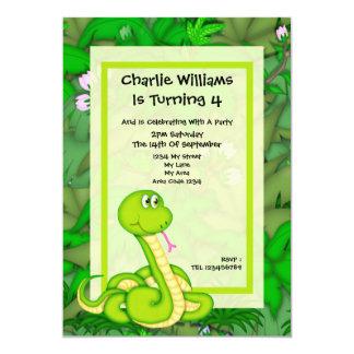 "Snake Birthday Party 5"" X 7"" Invitation Card"