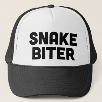 SNAKE BITER fun slogan trucker hat