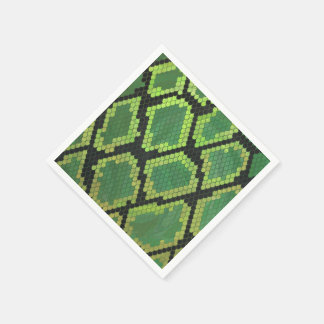 Snake Black and Green Print Disposable Napkins