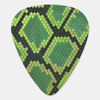 Snake Black and Green Print Plectrum