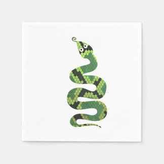 Snake Black and Green Print Silhouette Disposable Serviette