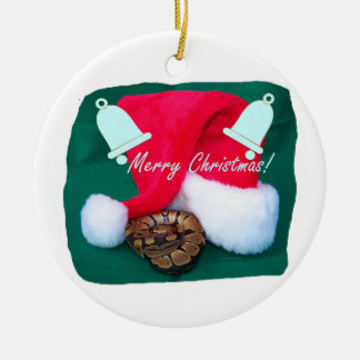 Snake by santa hat merry christmas and bells christmas ornament