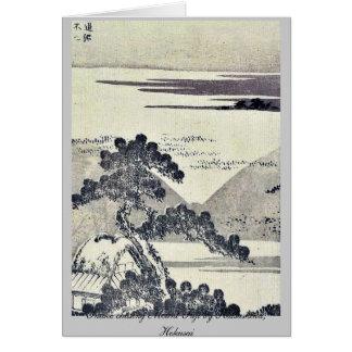 Snake chasing Mount Fuji by Katsushika, Hokusai Note Card